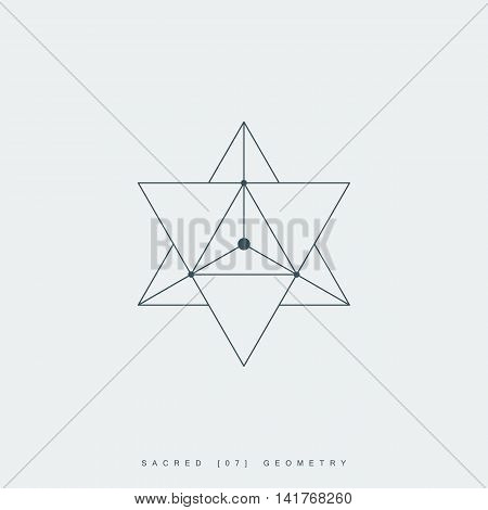 sacred geometry. merkaba thin line geometric triangle shape. esoteric or spiritual symbol. isolated on white background. vector illustration