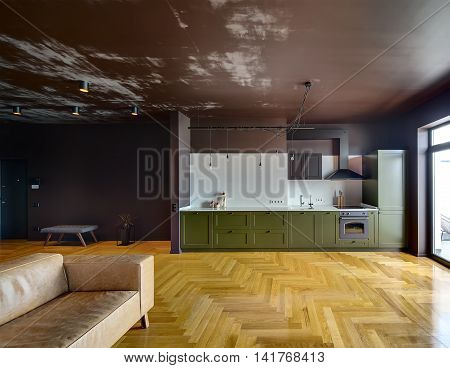 Apartment in modern style with dark walls and parquet on the floor. There is green kitchen with kitchen equipment, brown sofa, bench, plant in the pot, lamps. Glass door is on the right.