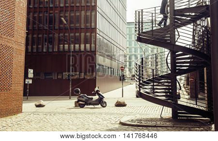 Card view: european street with stairs and motobike vintage, noone