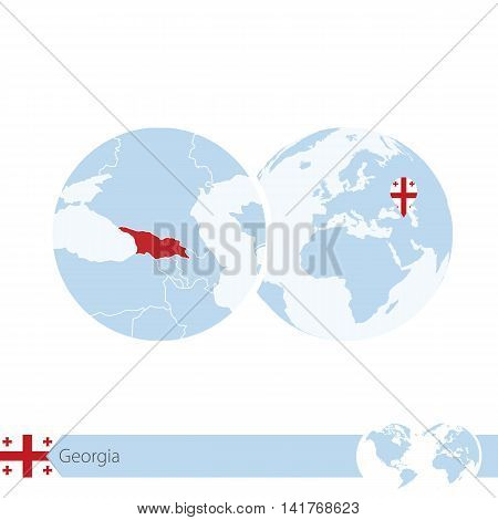 Georgia on world globe with flag and regional map of Georgia. Vector Illustration.
