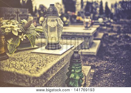 Candles On Tombstone In All Saints Day, Vintage Effect