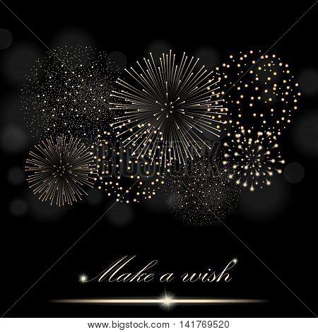 Golden Firework Show On Ambient Black Blurred Background.