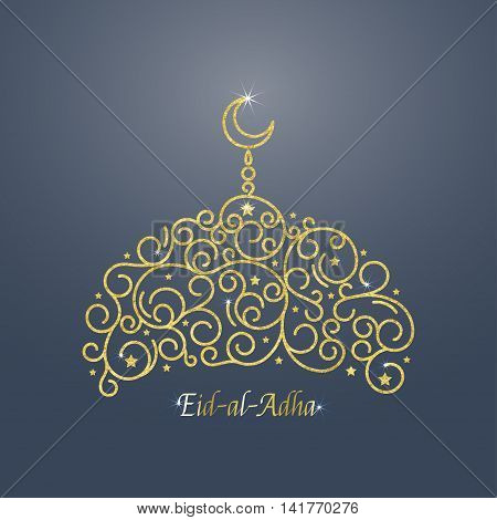 Vector illustration of glowing golden mosque. Isolated on blue background. Eid al adha mubarak islamic celebration card.