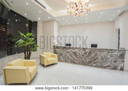 interior of a luxury hotel lobby reception area stock photo stock