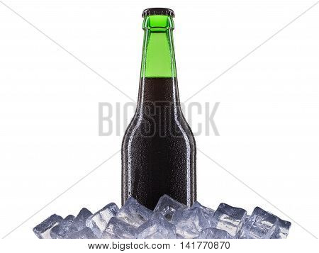 Bottle of beer with drops on ice isolated on white background.