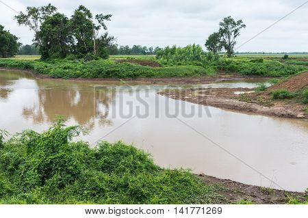 Irrigation canal for ues in the farming of local areaThailand.