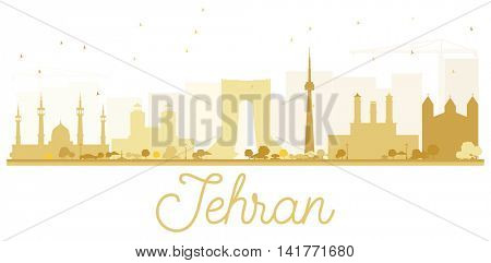 Tehran City skyline golden silhouette. Vector illustration. Simple flat concept for tourism presentation, banner, placard or web site. Business travel concept. Cityscape with landmarks
