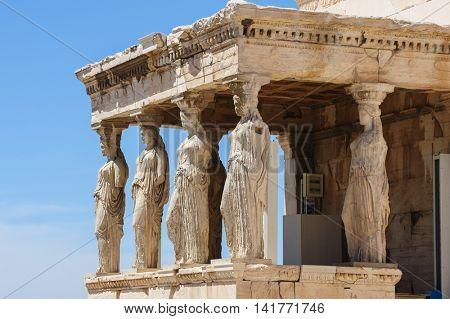 Six Caryatids or karyatides at Porch of the Erechtheion in Acropolis at Athens.