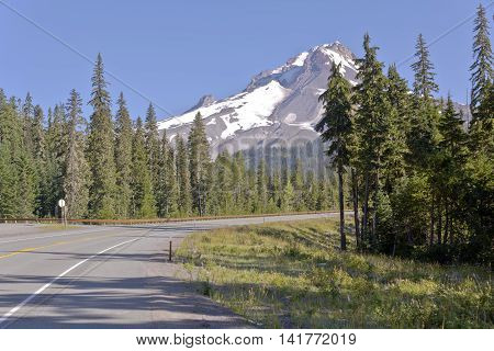 Scenic drives north around Mt. Hood wilderness area Oregon.