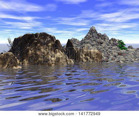 Abstract mountainous little island in the sea, 3D illustration