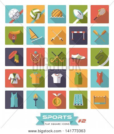 Collection of square sports icons, flat design, long shadow. Icon set 2.