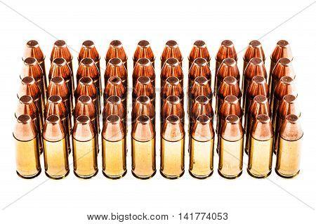 Handgun Bullets On White