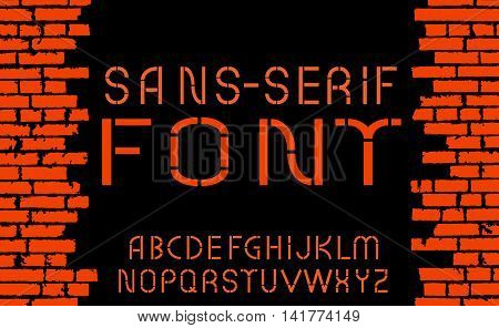 Orange Sans-serif Modern Font On Old Brick Wall Background. Vector Illustration