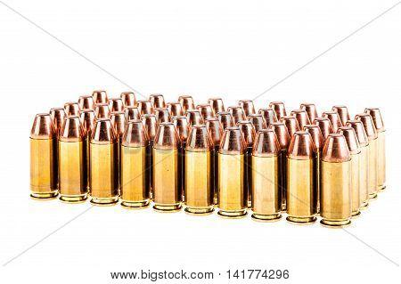 Handgun Bullets Over White