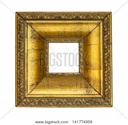 a picture gold frame isolated on a white
