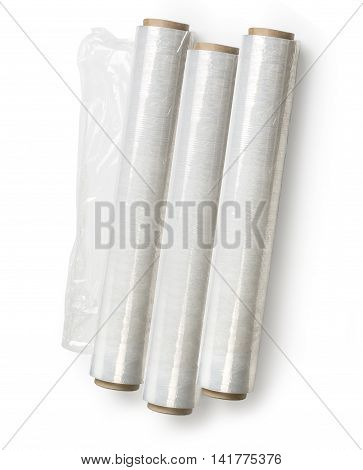 Roll of wrapping plastic stretch film on white background.