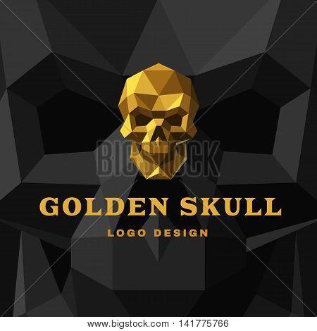 Vector illustration Golden Skull Polygon style. Dark background.