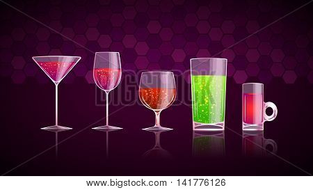 illustration of set of different type of glasses with cocktails on violet background