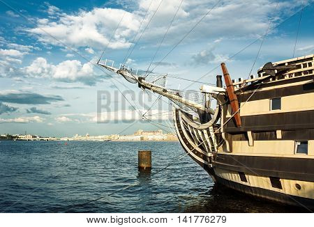 The bow of the ship. Frigate on the Neva river in St.Petersburg.