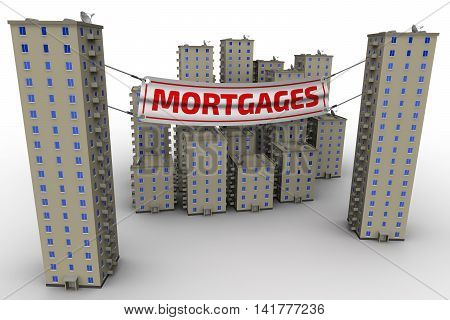 Sales apartments in the mortgages. Multi-storey residential buildings on a white surface and advertising banner with inscriptions