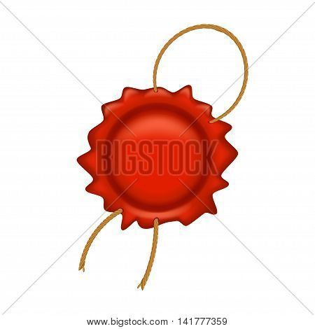 illustration of red wax stamp with a thread on white background