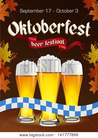 Oktoberfest vintage poster with beer and autumn leaves on dark background. Octoberfest banner. Gothic label.
