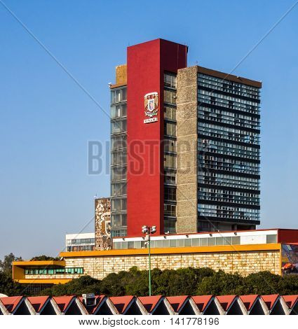 CIUDAD DE MEXICO / MEXICO - FEBRUARY 23 2016: View of the Rectoria Building of National Autonomous University of Mexico (Universidad Nacional Autonoma de Mexico UNAM)