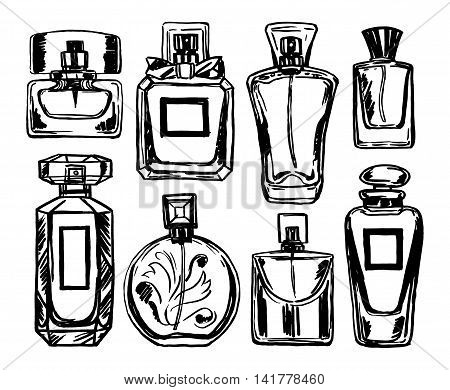 Perfume bottles set. Different types perfume. Vector