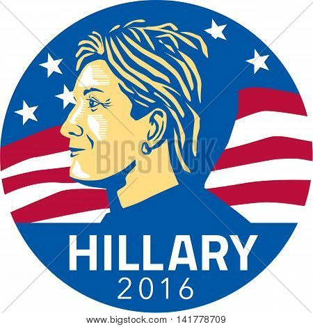 August 8, 2016: Illustration showing American presidential candidate for president 2016 Hillary Clinton of the Democratic Party side profile with stars and stripes in background set inside circle.