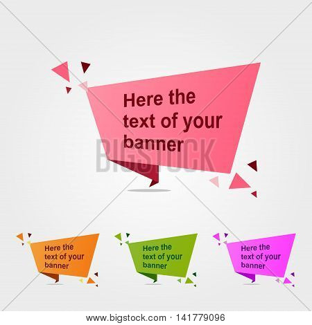 Quote Vector abstract geometric origami speech triangle background and place for message sign.