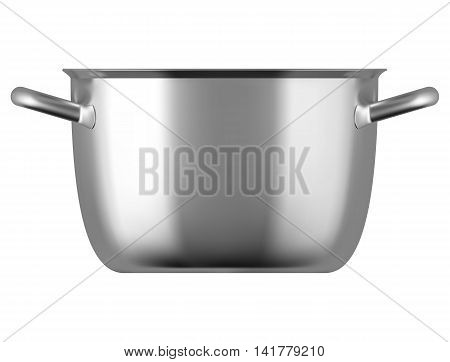 Steel cooking pot isolated on white bacground