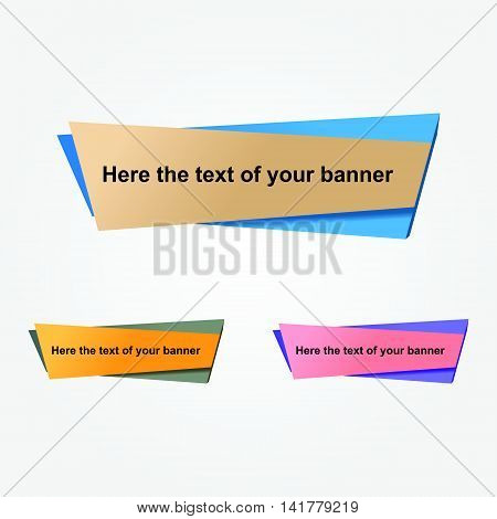 Set of geometric vector banners. Bright card with volume elements. Origami pieces of paper .In the flat style