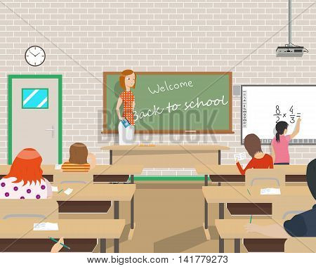 The teacher conducts classes for children in the class after vacation. Vector illustration