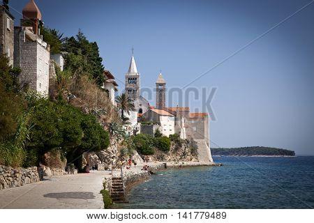 Famous touristic Rab town on Rab island, Croatia, Europe. Rab is a Croatian island in the northern Adriatic Sea.