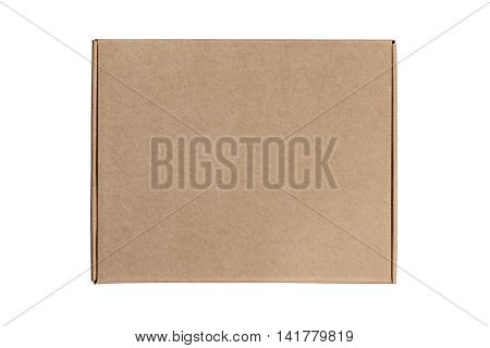Cardboard box on white background. Top view. Mailing shipping box made of craft carton. Isolated on white.