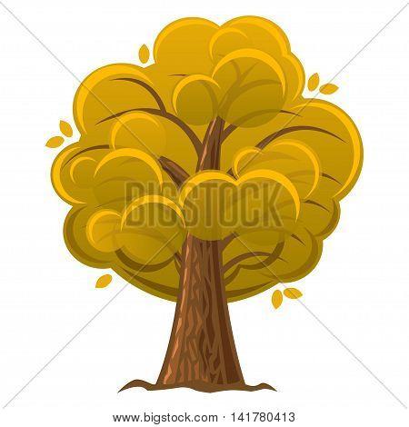 Cartoon tree autumn orange oak tree with luxuriant foliage. Vector illustration