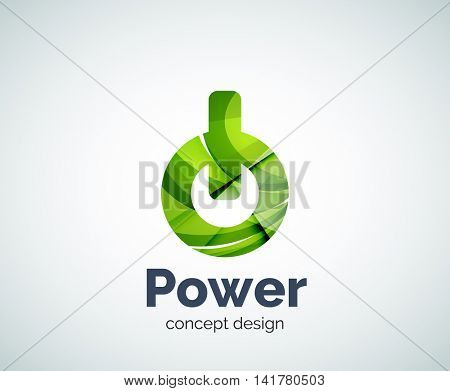 Power button logo template, abstract geometric glossy business icon