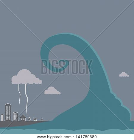 The tsunami is coming to town in the evening cloudy with thunderstorms