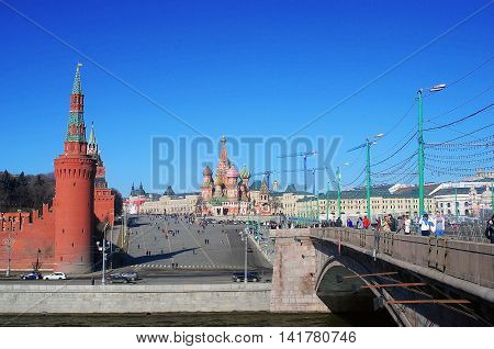 MOSCOW - MARCH 10, 2014: Moscow Kremlin and Red Square. Saint Basil Cathedral. UNESCO World Heritage Site.