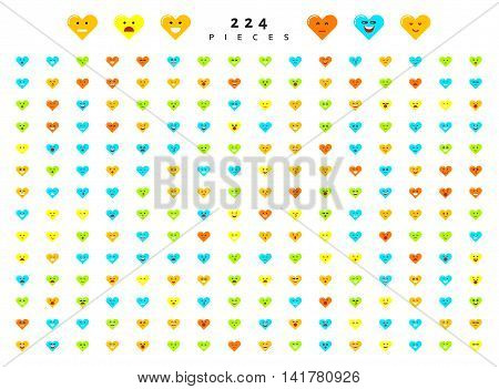 Great set 224 color emotions isolated on white background. Character emoji for Web. Anger and compassion. Laughter, tears. Smile sadness surprise. Happiness fear.