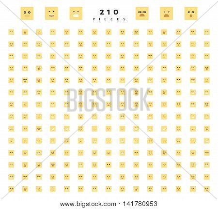 Great set of 210 color emotion isolated on white. Cute emoji. Anger and compassion. Laughter and tears. Smile and sadness, surprise. Happiness and fear. Emotions for Web development.