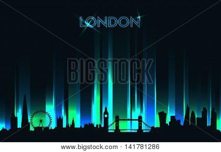 Neon London skyline detailed silhouette vector illustration