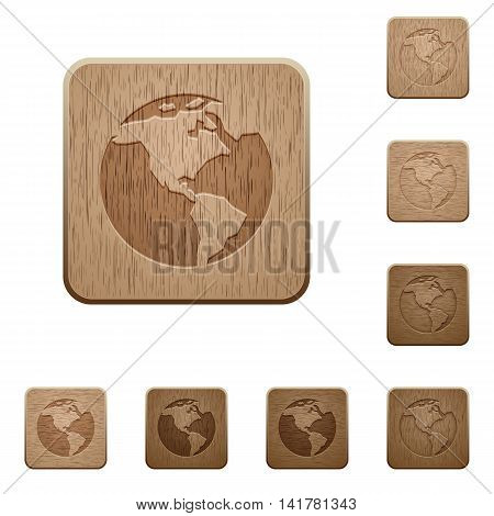 Set of carved wooden Earth buttons in 8 variations.
