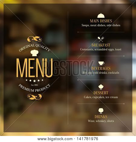 Restaurant menu design. Vector menu brochure template for cafe, coffee house, restaurant, bar. Food and drinks logotype symbol design. With a blurred pictures