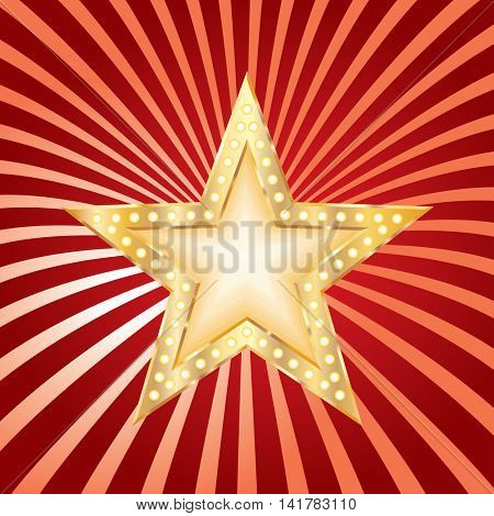 golden red star on grunge burst