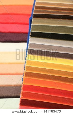 Fabric swatches in an interior decoration shop