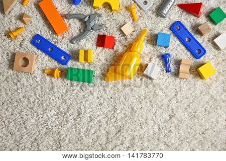 Set of colorful kids toys, top view