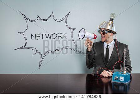 Nerd Business Science Man with speech bubble