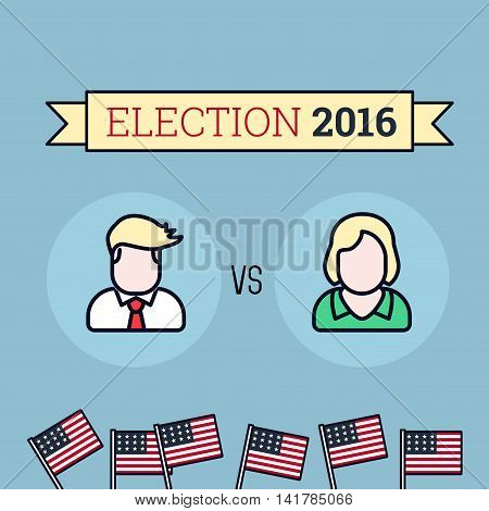 American election 2016. Two candidates. Flat style illustration