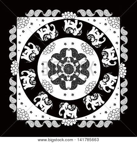 India. Black and white ethnic bandana print with beautiful flowers paisley and elephants. Summer kerchief square pattern design style for print on fabric. Mandala.